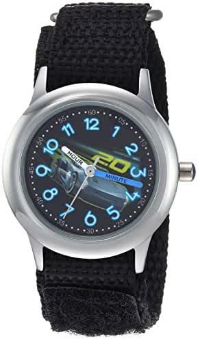 Disney Boy's 'Cars 3' Quartz Stainless Steel and Nylon Casual Watch, Color:Black (Model: WDS000299)